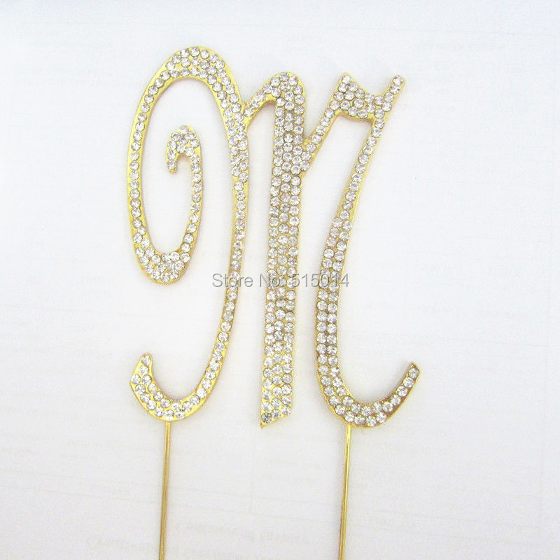 Free Shipping !2016NEW! 30pcs/lot gold rhinestone cake topper for wedding(different letter is ok ))(China (Mainland))