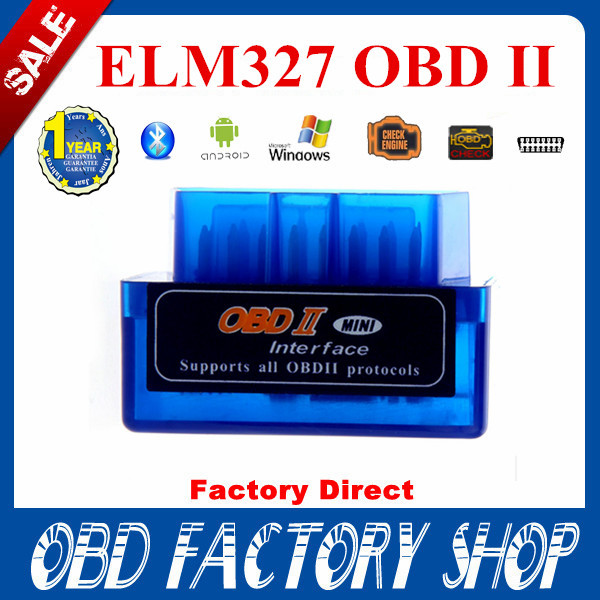 free ship Factory price ELM327 OBDII Bluetooth elm 327 OBD Scan OBDII Diagnostic Tool newest V2.1 Support Android and Symbian(China (Mainland))