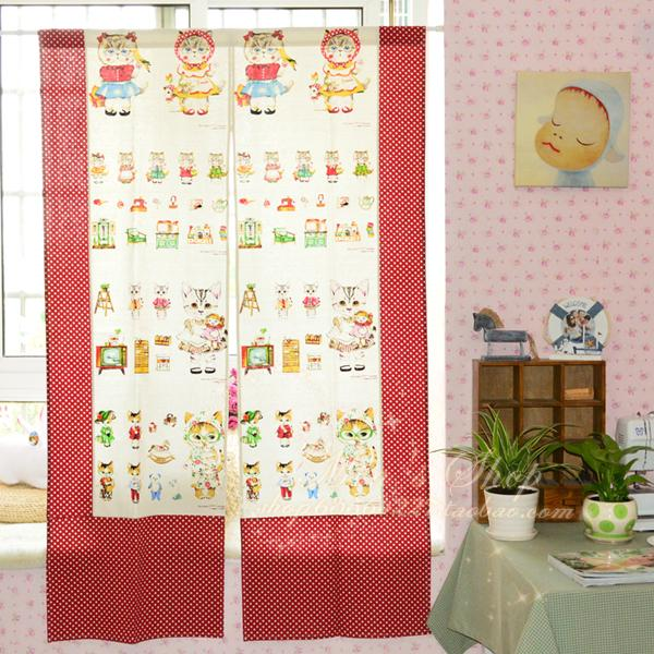 Free shipping 2015 New ZAKKA Korean original single Fluid Systems Door curtain Cat lady happy life Split Wind curtain(China (Mainland))