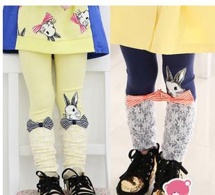 2015 spring & fall new children princess leggings girls Bow cute bunny lace splicing cotton leggings kids bottoms A5629(China (Mainland))