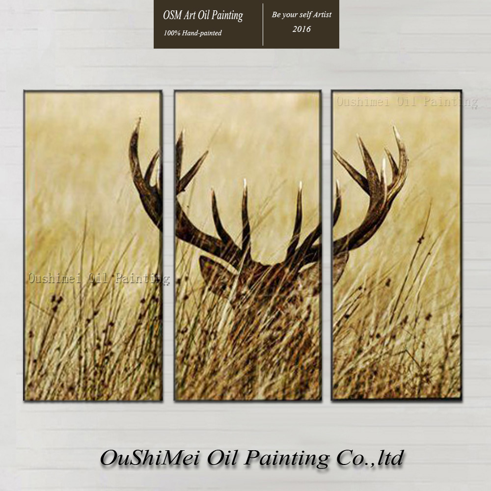 Free Shipping High Quality Modern Abstract Oil Painting The Stag Hidden in The Grass Oil Painting On Canvas For Hotel Decoration(China (Mainland))