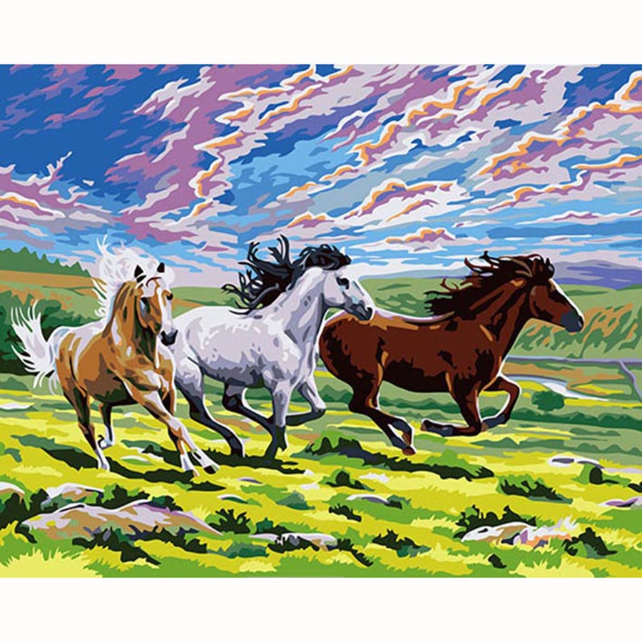 DIY Painting By Numbers Kits Drawing Paint By Number Acrylic wall pictures For living Room Artwork - Spring & horse DY090(China (Mainland))