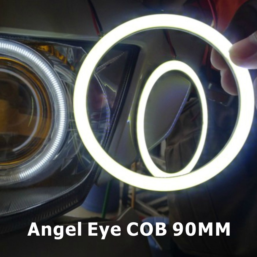 2X 90mm COB Angel Eye LED Chip DRL Car Motorcycle Fog Light Halo Rings Waterproof Auto Headlight Lighting 2 Lampshades - X-Car LED&AUTO Supplies store