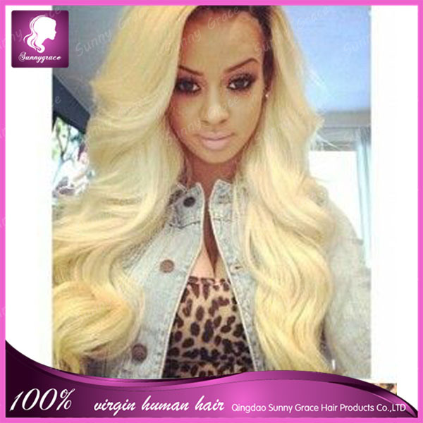 Fashion celebrity #1b/613 blonde Malaysian hair wig 100% natural hair wigs for women blond virgin hair full lace wigs(China (Mainland))