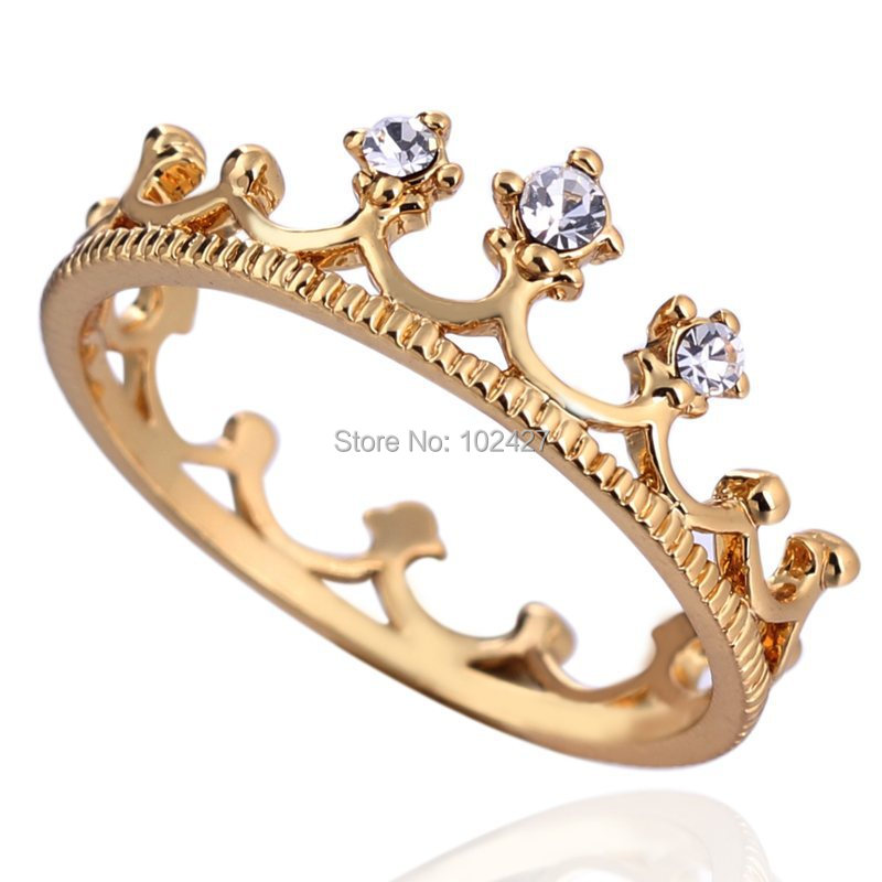 Anel 2015 Hotsale 18K Gold Plated New Design Flash Drill Crown Ring Jewelry Shiny Elegant Beauty Party Rings for Women Wholesale(China (Mainland))