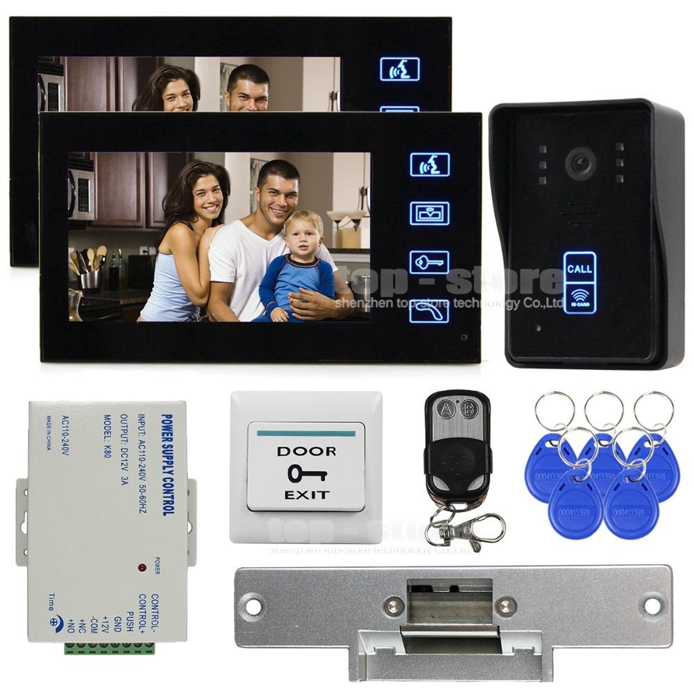Strike Door Lock Video Door Phone Intercom Doorbell Security Kit IR Camera Monitor 125KHz RFID Reader SY806MJID12<br><br>Aliexpress