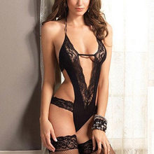 Hot Women's Ladies Sexy Babydoll Lingerie Solid Lace Underwear Sleepwear G-string Black Free Shipping