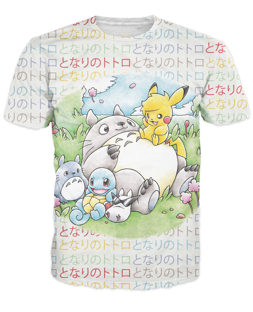 Totoro and Friends T-Shirt Women Men Japanses Cartoon Tees tops Fashion Clothing Free Shipping(China (Mainland))