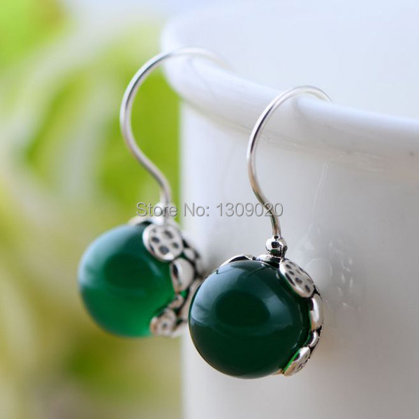 Fashion Women's 925 Sterling Silver Green Chalcedony Earrings Free Shipping(China (Mainland))