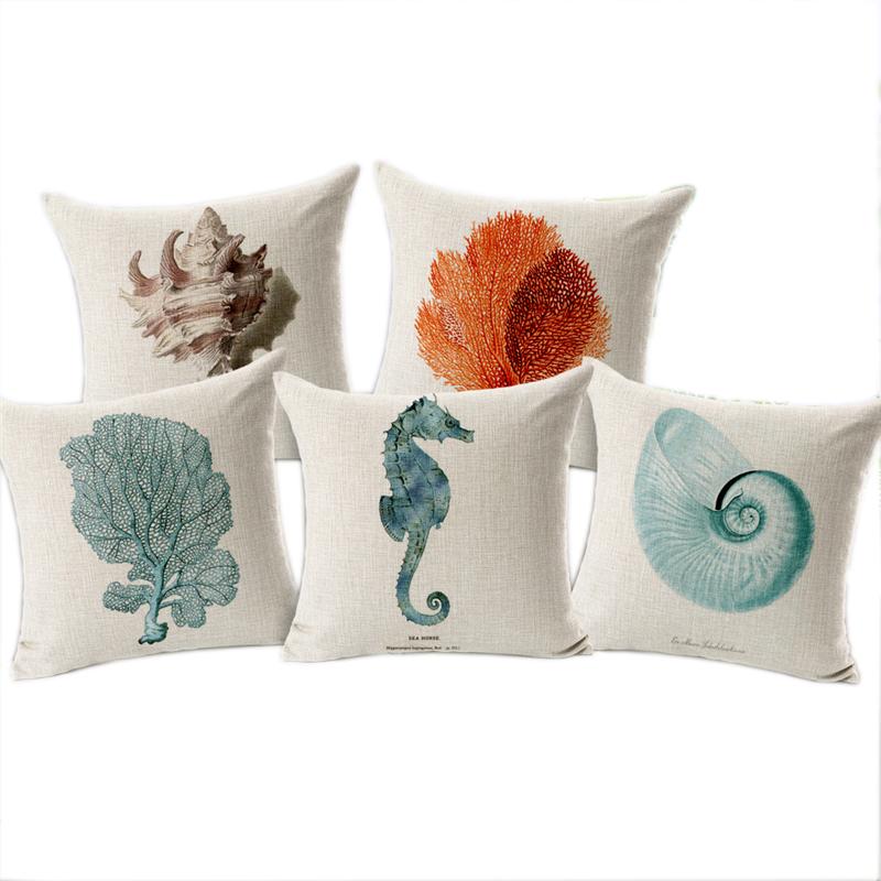Sea shell throw pillow covers funda cojin 45 45cm sofa - Fundas cojines sofa ...