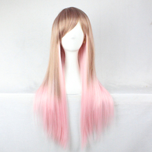 70Cm High Harajuku Anime Cosplay Wigs Long Straight Synthetic Bangs Costume Party Wigs Blonde Ombre Wig Pelucas Cabello Paula