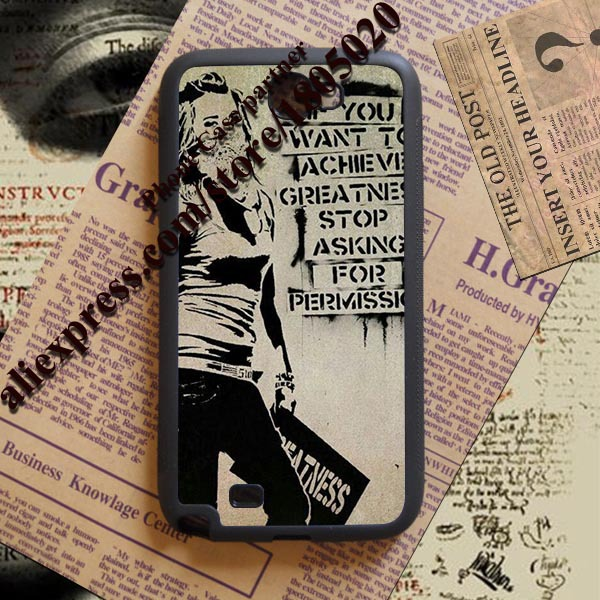 1pcs Banksy achieve greatness fashion TPU Protective shell Case for Samsung Note 2 3 4(China (Mainland))