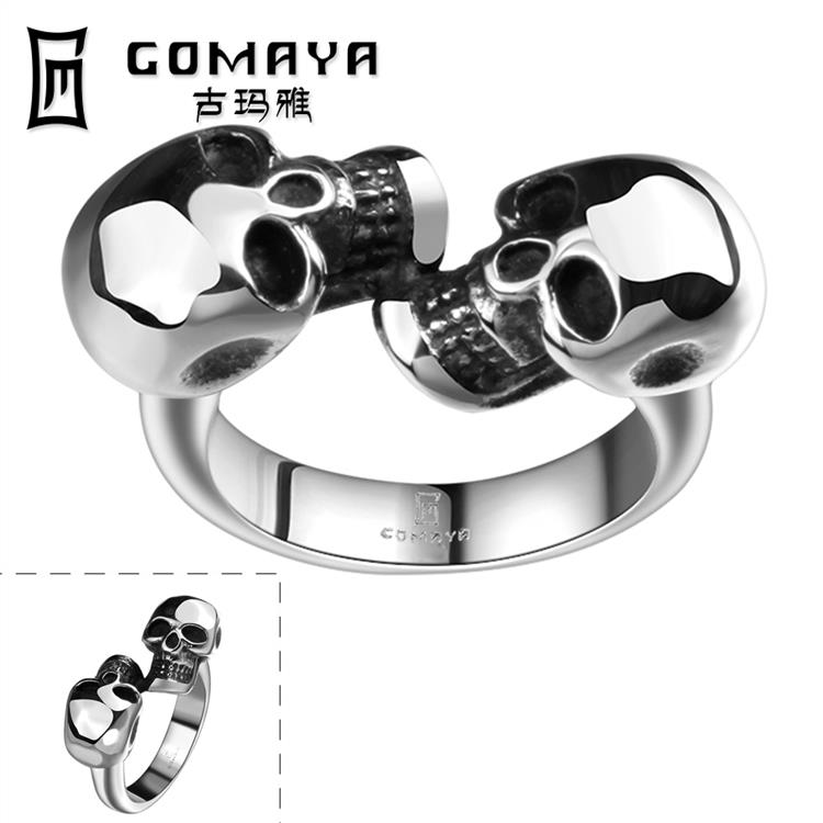 Punk 316L Stainless Steel Rings For Man Fashion Men Jewelry Wedding bands Dual Skull Ring wholesales(China (Mainland))