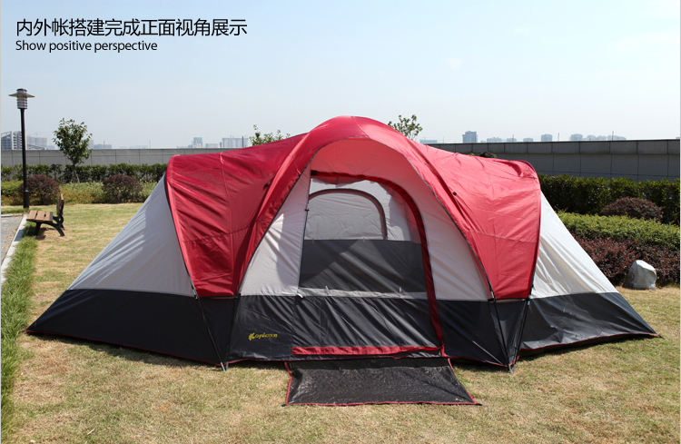 New style ultralarge 8 -10 people double layer large space waterproof family camping tent(China (Mainland))