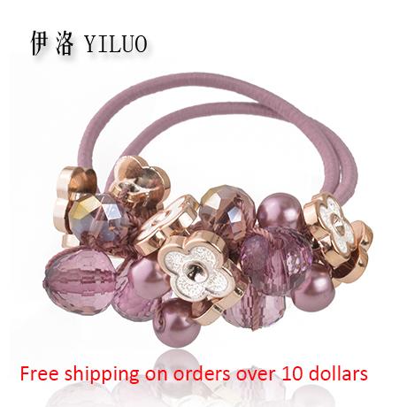 mode kristal glas snijden acryl kralen bloem elastische haarband paardenstaart houder voor vrouwen gratis verzending(China (Mainland))