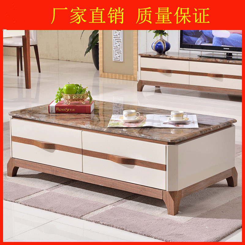 1 piece coffee table mdf marble top tea table small side