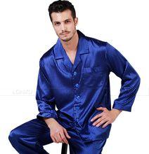 Mens Silk  Satin Pajamas  Set  Pajams  Pyjamas Long  Set  PJS  Sleepwear  Loungewear  S~4XL Plus  Stripped(China (Mainland))