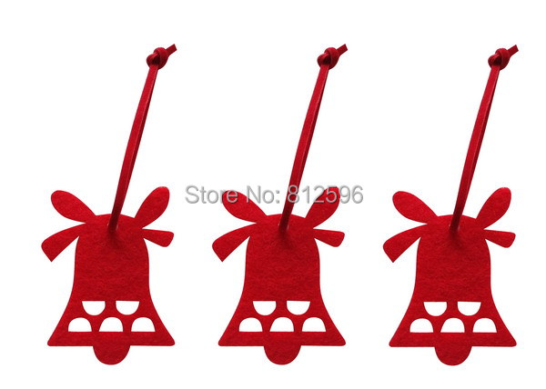 Free Shipping 60pcs Red Bell Christmas Hanging Decoration 2015 Fashion New Laser Cut Felt Craft Outdoor Tree Ornament Supplies(China (Mainland))