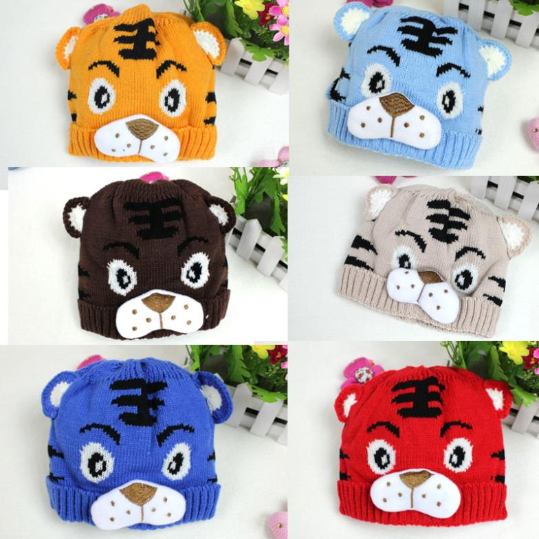1PCS Free Shipping Winter Baby Toddlers Kids Knitting Winter Tiger Hat W Tail Bonnet Beanie Soft