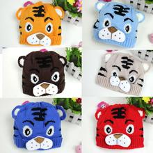 1PCS Free Shipping Winter Baby Toddlers Kids Knitting Winter Tiger Hat W/ Tail Bonnet Beanie Soft Warm