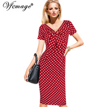 Vfemage Womens Vintage Pinup Rockabilly Bow V Neck Polka Dot Career Casual Work Party Sheath Wiggle Pencil Dress 2901(China (Mainland))