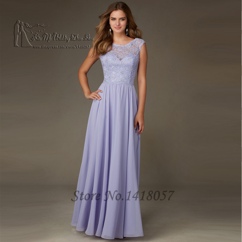 robe demoiselle d 39 honneur lilac long bridesmaid dresses gowns lace wedding party dress wear. Black Bedroom Furniture Sets. Home Design Ideas