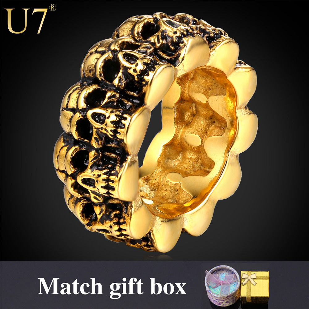 U7 Stainless Steel Ring For Men Jewelry 2016 New Trendy 18K Gold Plated Punk Rock Style Skull Men Bands Ring Vintage R424(China (Mainland))