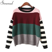 Contrast color striped christmas sweater women knitted tops jumper 2016 autumn winter sweaters pullovers knitwear 3 colors sale(China (Mainland))