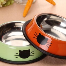High quality Cute Stainless Steel Cat Water Food Bowl Round Cat Face Pet Feeder Dog Bowl  Free Shipping(China (Mainland))