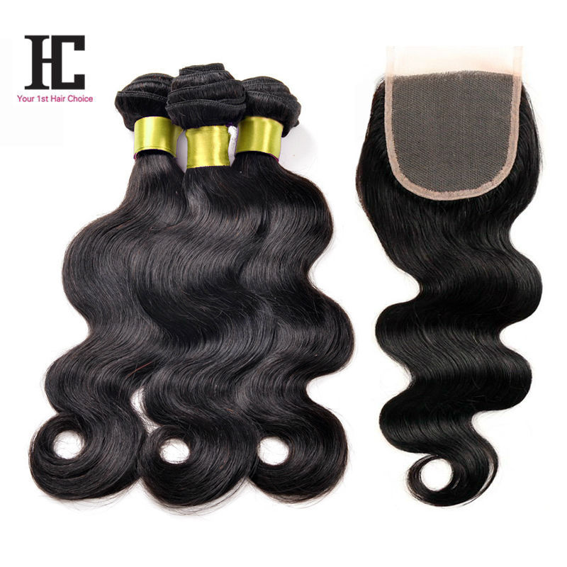 Malaysian Virgin Hair With Closure 6A Unprocessed Virgin Malaysian Hair With Closure 3 Bundles With Closure HC Lace Closure