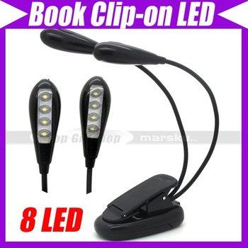 Flexible Double Flex Goosenecks 8 LED Book Reading Clip-on Music Stand Light Lamp #3527