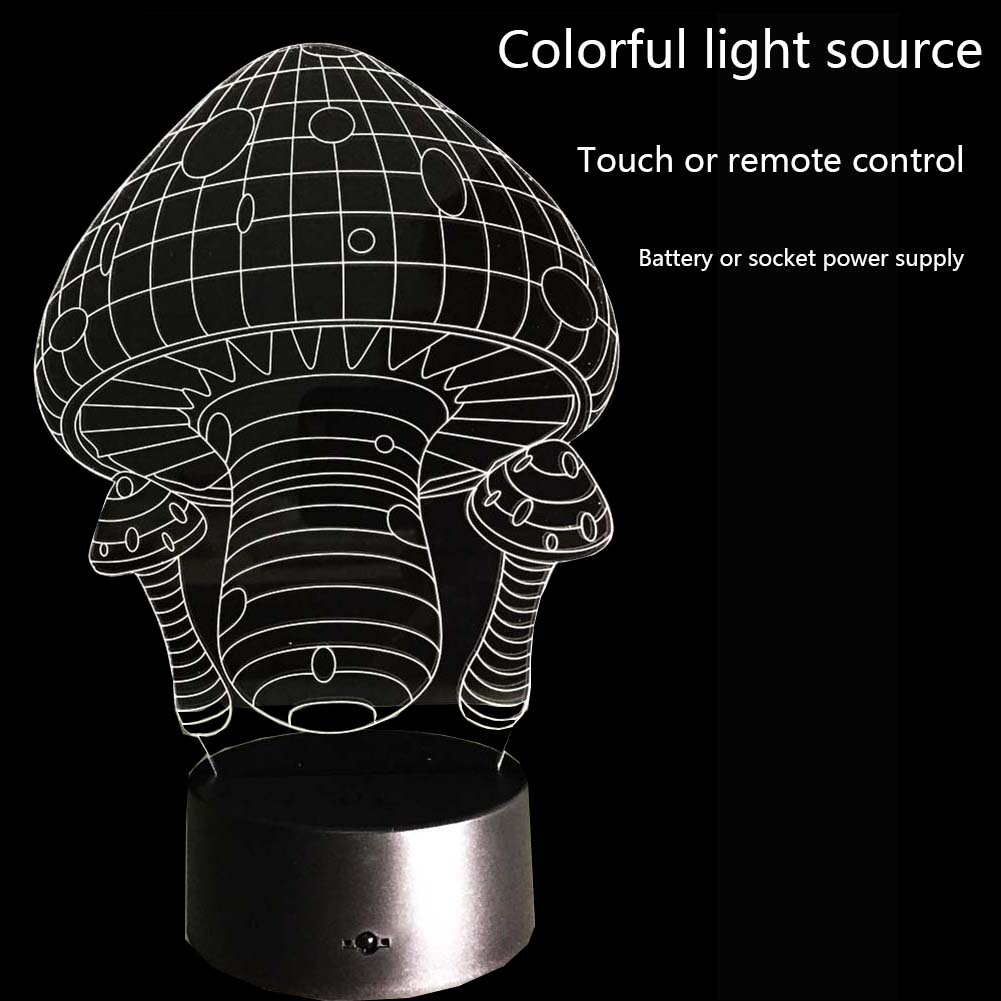 Novelty 3D Mushrooms Night Light Lamp Gadget LED Lighting Home Bedside Nightlight for Child New YearGift(China (Mainland))