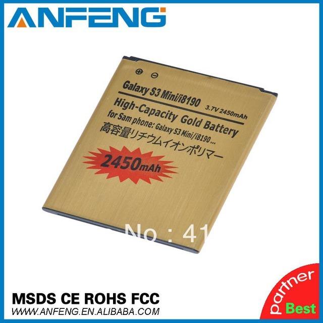 2450mah GOLD High Capacity Battery For Samsung Galaxy S3 III mini I8190 Galaxy S Duos S7562 Singapore Post Free 20pcs/lot