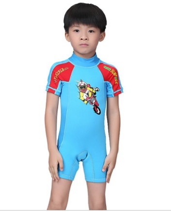 Kids Rash Guard Short Sleeve Swimming Diving Suit Jumpsuit Swimwear Professional Children Nylon Lycra  Anti-UV Quick-dry Wetsuit