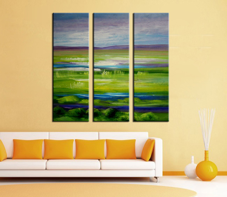 3 panel wall decor modern art set Beautiful lawn landscape hand painted Oil Painting on Canvas for hotel(China (Mainland))