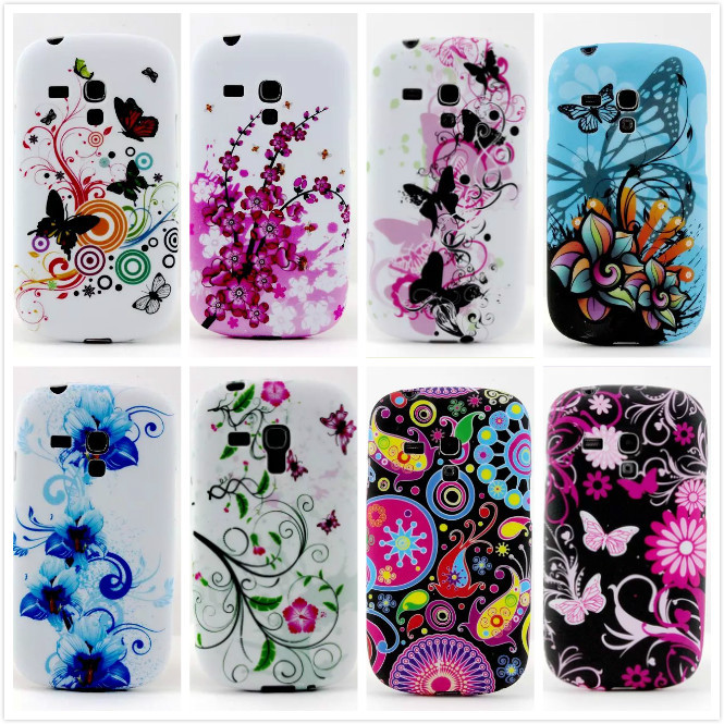 For Samsung Galaxy S3 mini I8190 TPU Back Cover Fashion Butterfly Flowers Soft Rubber Silicone Cases(China (Mainland))
