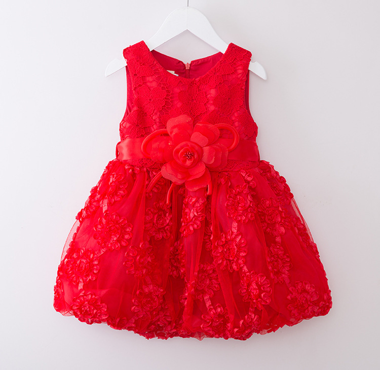 Retail & Wholesale Free shipping 2016 New Summer Flowers Party Valentine's Day Holiday Dress Children Baby Children's Clothing(China (Mainland))