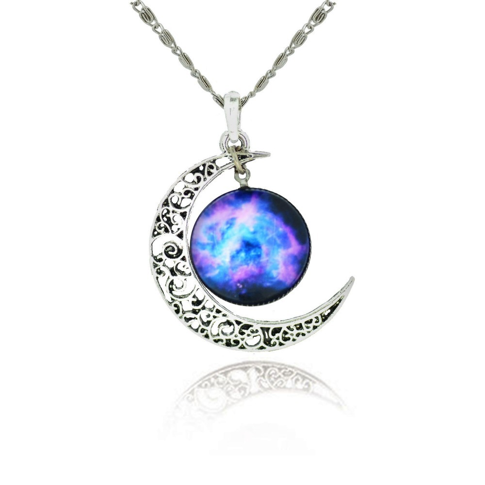 925 Sterling Silver Jewelry Fashion Moon Statement Necklace Glass Galaxy Lovely Collares Necklace&Pendants Fine Jewerly Brand(China (Mainland))