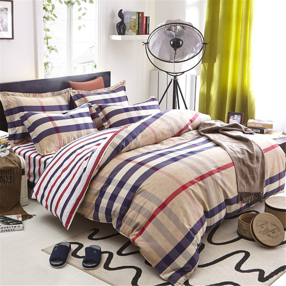 Фотография The boy love stripe Bedding Sets 4pc No Comforter, 128x68 Cotton 100% Kids Duvet Cover, Queen Size Princess Bedlinen