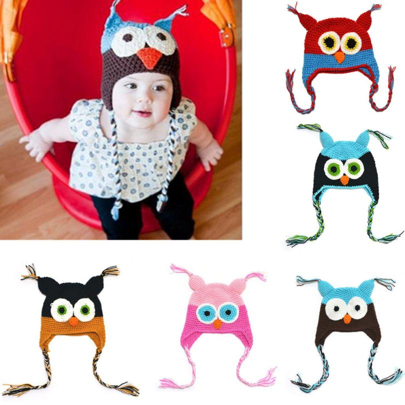2016 New Lovely Pattern Baby Hat Winter Toddler Owls Knit Crochet Knitted Cap For child kids baby beanies Cotton Infants Hat(China (Mainland))
