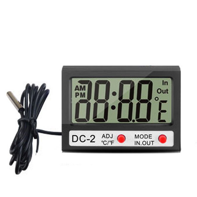 1 PC Mini LCD Digital Thermometer Multifunctional Temperature Meter Time Clock Indoor Outdoor Weather Station Tester VHC84 P50(China (Mainland))