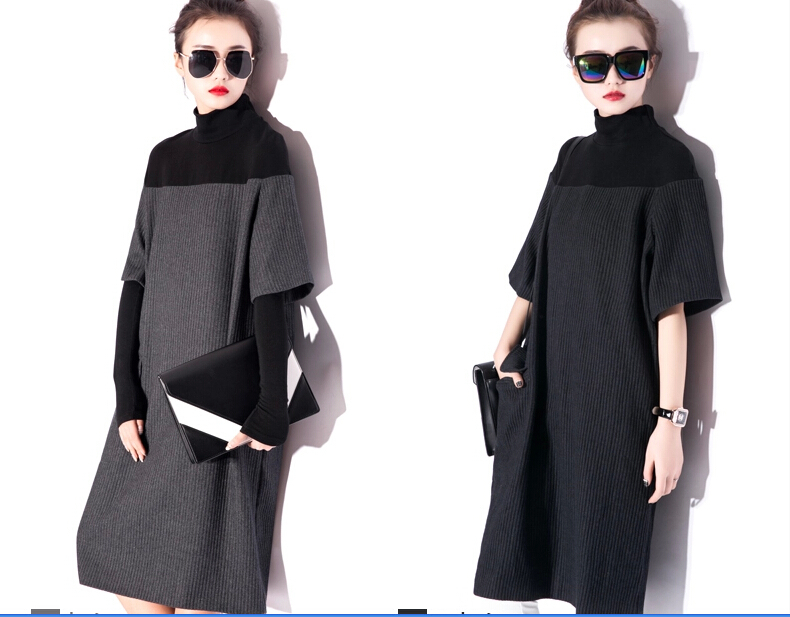 2015Fall and winter fashion womens clothing collar high-end brand cloth joining together with thick loose dress  D-0414Одежда и ак�е��уары<br><br><br>Aliexpress