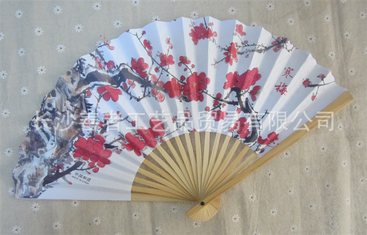 free shipping cherry blossom silk fan wedding souvenirs 1pcs/lot , perfect wedding and party supplies(China (Mainland))