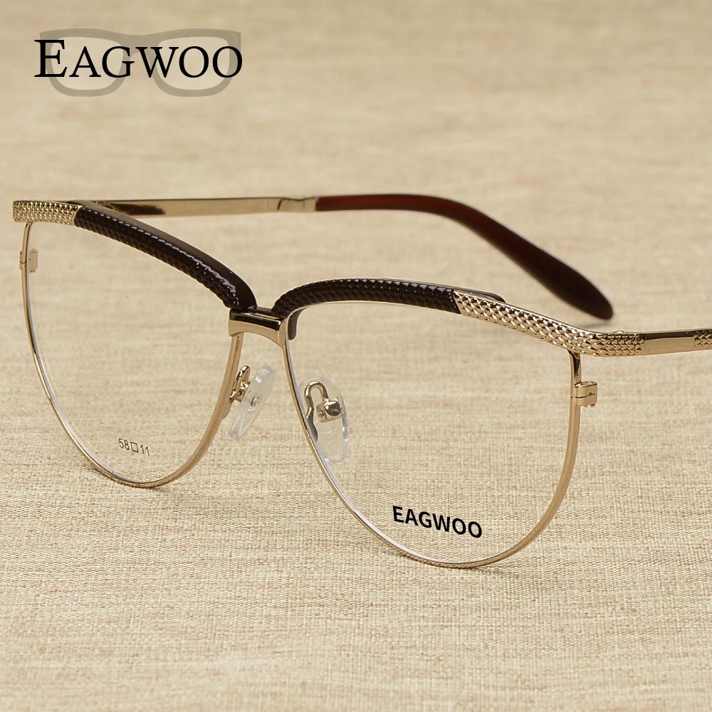 Large Framed Cat Eye Reading Glasses : Metal Alloy Full Rim Vintage Big Optical Frame ...