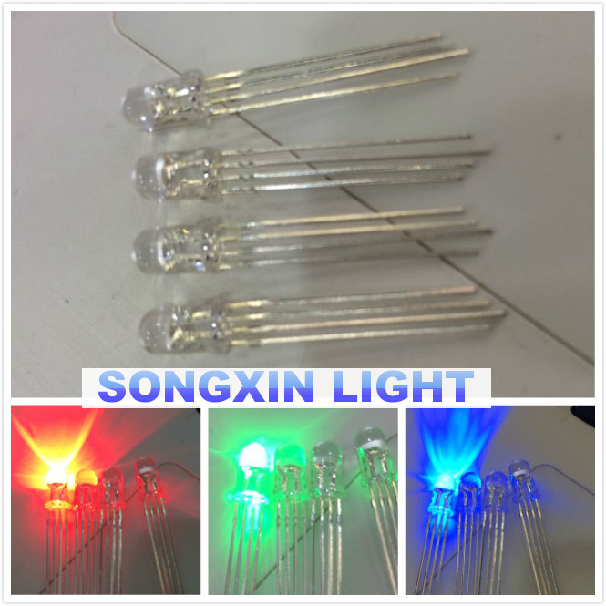 10PCS 5mm full-color LED RGB red/green/blue Common Anode/Cathode Four feet transparent highlight color light 5mm diode colorful(China (Mainland))