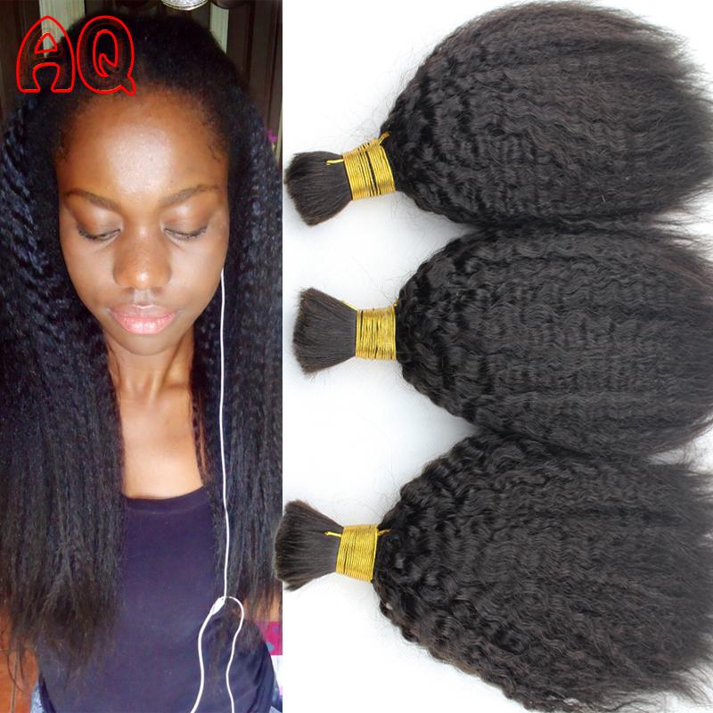 7A Human Braiding Hair Bulk Virgin Peruvian Afro Kinky Straight Coarse Yaki Braiding Hair No Weft Human Braided Hair Extensions