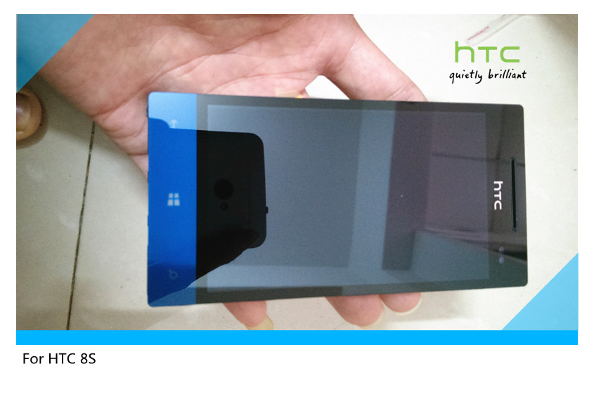For HTC Windows Phone 8S A620e Original Frame LCD Display Touch Screen Digitizer Assembly blue with tools