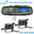 DIYKIT Dual 4 3 inch Screen Rearview Car Mirror Monitor 2 x CCD Waterproof Car Rear