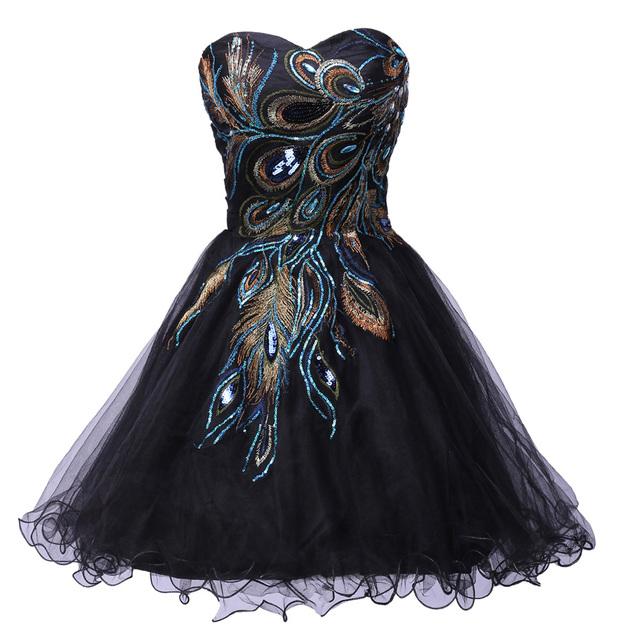 Черные короткие платья выпускного вечера для подростков 2016 милый элегантный павлин ...