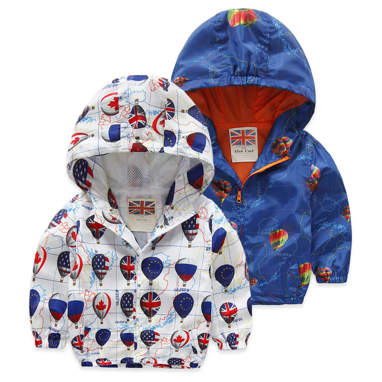 2016 Fashion Children Jackets Hooded cartoon Printed Jacket For Boys 2-6 Years Kids Outerwear Coat Baby Boys Windbreaker Clothes(China (Mainland))
